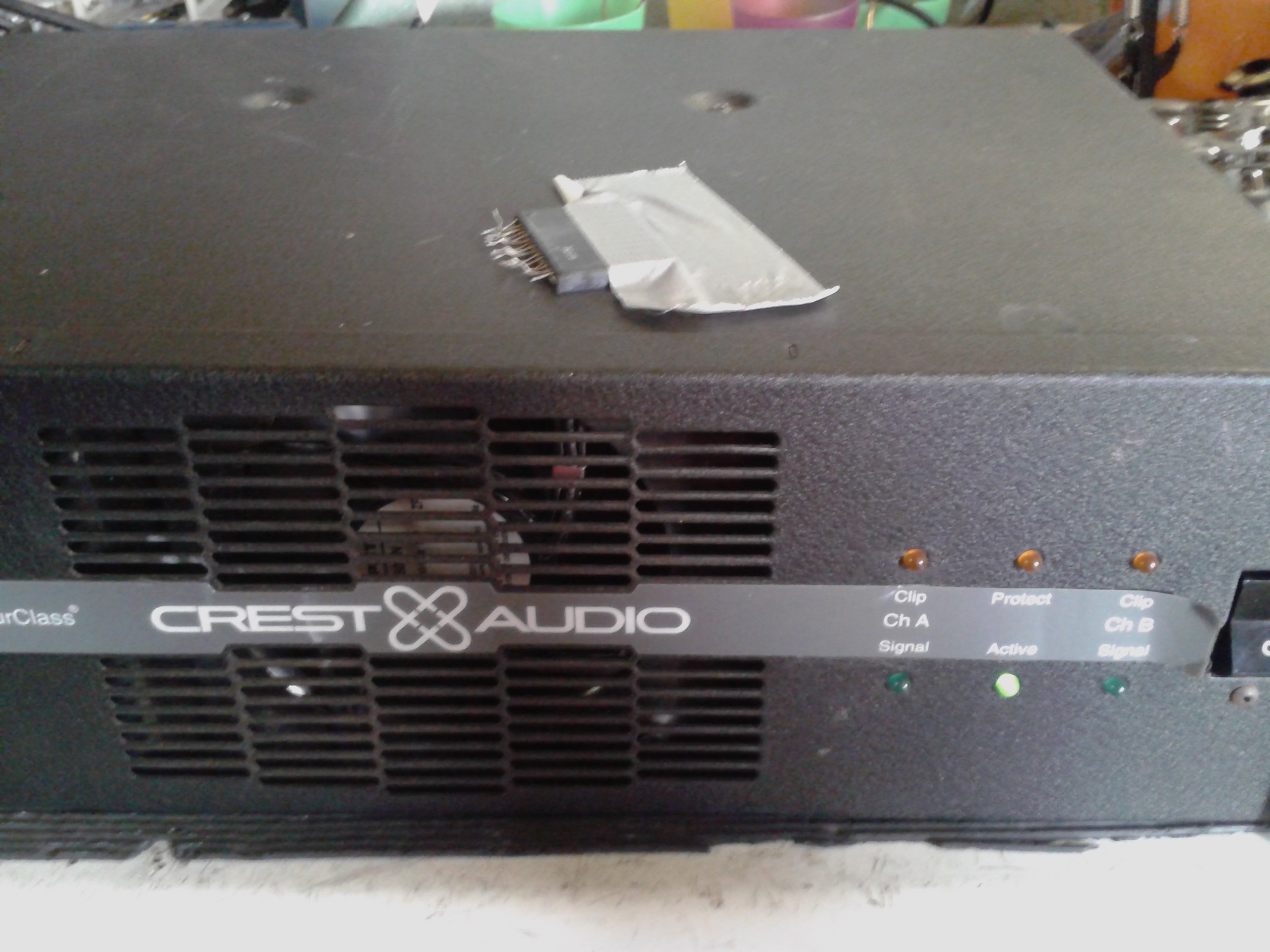 Crest Vs1100 Amplifier Repair Stk Audio Circuit Front View Showing Power On Ready For Shipping Back To The Customer